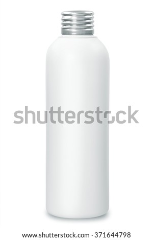 close up of a white bottle on white background with aluminum cap - stock photo