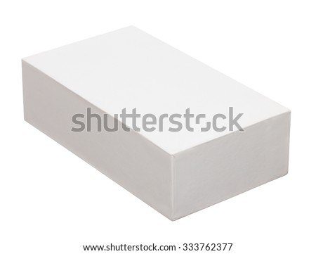 close up of a white box on white background with clipping path