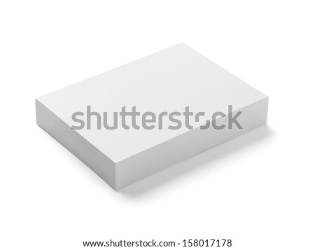 close up of  a white box template on white background - stock photo