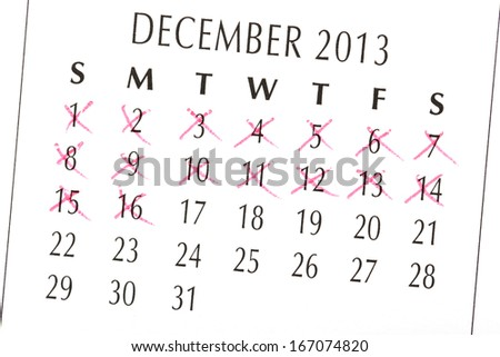 Close up of a white calendar page on December 2013 - stock photo