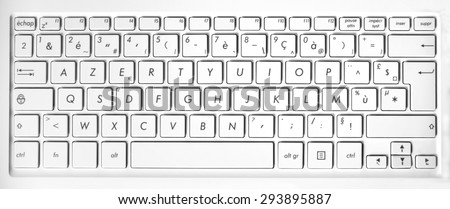 Close up of a white french azerty computer keyboard background