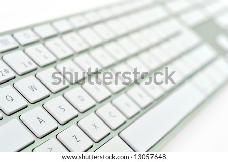 close-up of a white keyboard - stock photo