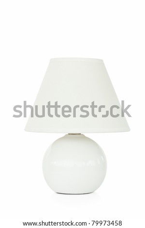 Close up of a white lamp against a white background - stock photo