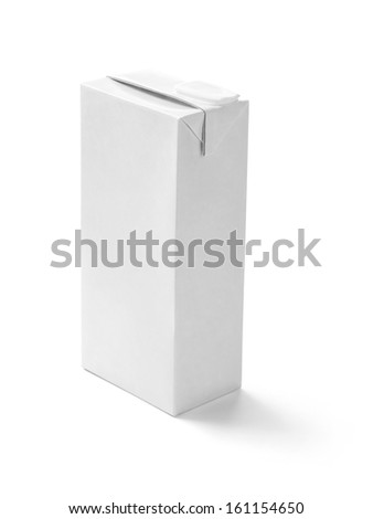 close up of  a white milk box template on white background