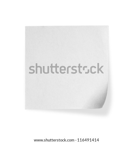 close up of a white note paper on white background - stock photo