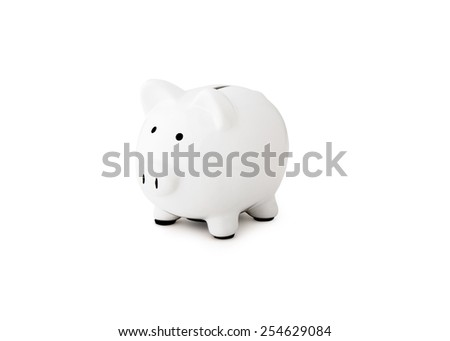 close up of a white piggy bank - stock photo