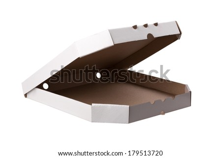 close up of a white pizza box on white background - stock photo