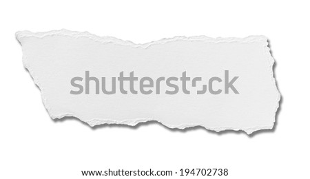 close up of  a white ripped piece of paper on white background - stock photo