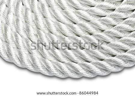 Close-up of a white rope isolated