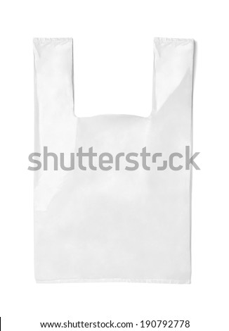 close up of  a white shopping bag on white background