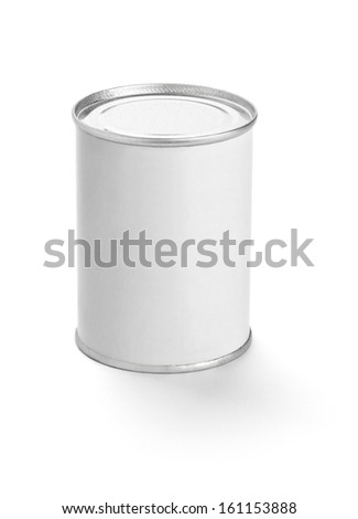 close up of  a white tin can template on white background
