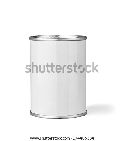 close up of  a white tin can template on white background - stock photo