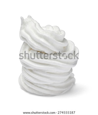 close up of  a white whipped cream on white background