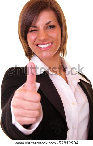 close-up of a winking businesswoman holding thumb up