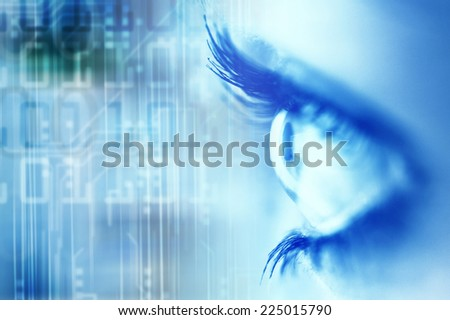 close up of a woman eye with binary digits - stock photo
