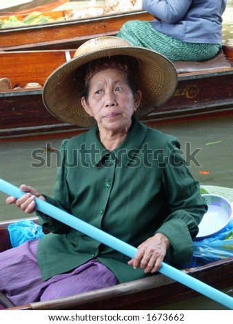 close up of a woman in floating market bangkok