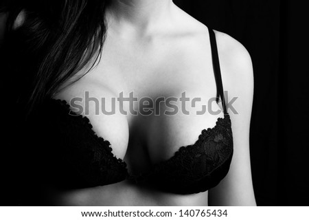 Close up of a woman's breasts - stock photo