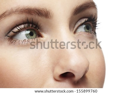 Close up of a woman's face. Beauty shot. - stock photo