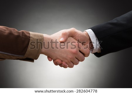 Close-up Of A Worker And Businessman Shaking Hand - stock photo