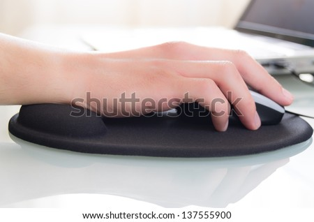 close-up of a working at the computer situation - stock photo