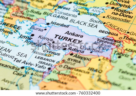 Turkey map stock photos images photography shutterstock close up of a world map with turkey in focus gumiabroncs Image collections