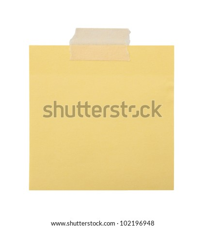 close up of a yellow note paper on white background with clipping path