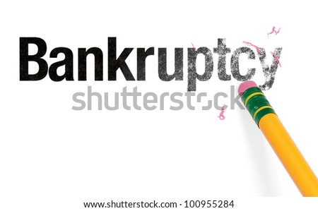 Close up of a yellow pencil erasing the word, 'Bankruptcy.' Isolated on white. - stock photo