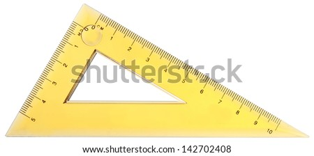 close up of a yellow ruler isolated on white background - stock photo