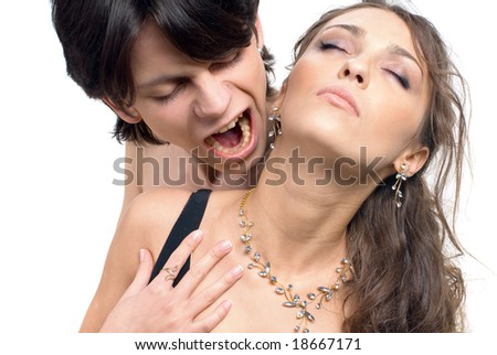 close-up of a young attractive couple caught in a moment of passion
