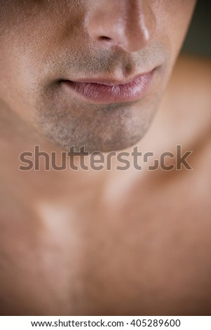 Close up of a young man's jaw line - stock photo