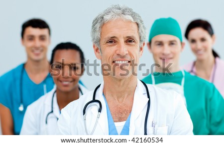 Close up of a young Medical team
