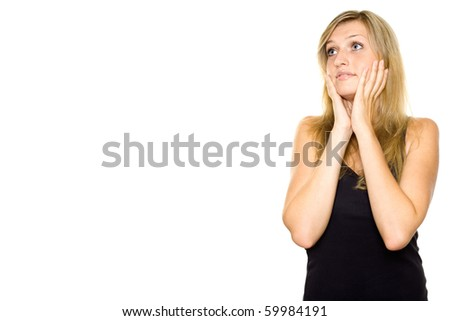 Close-up of a young woman looking surprised. Lots of copyspace and room for text on this isolate - stock photo