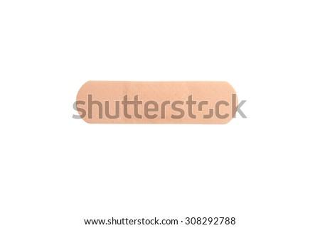 close up of adhesive plaster isolated on white background - stock photo