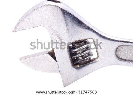 Close up of adjustable wrench - stock photo