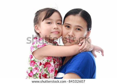 Close Up Of Affectionate Mother And Daughter on white isolated background - stock photo