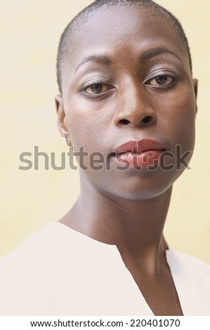 Close up of African American woman - stock photo