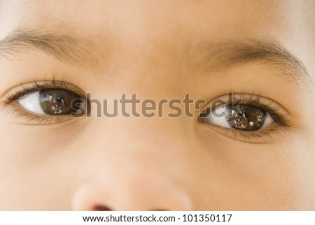 Close up of African girl's eyes