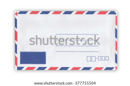Close up of air mail envelope