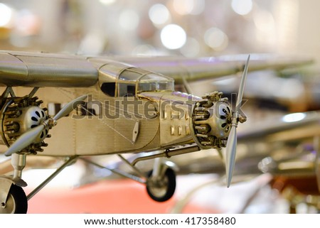 close up of air plane model - stock photo