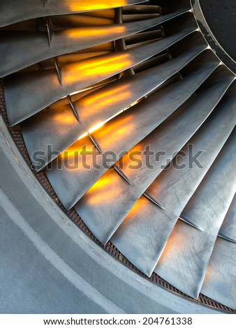 Close up of aircraft engine blades - stock photo
