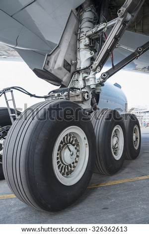 Close up of aircraft wheel at the hangar