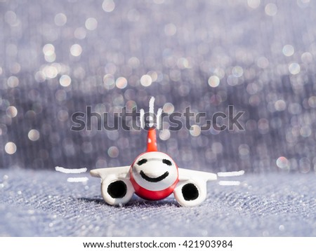 Close-up of airplane model with brush sketch with bokeh and blurry background - stock photo