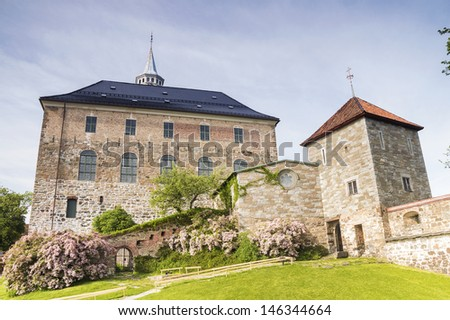 Close up of Akershus Fortress located near Oslo Fjord - stock photo