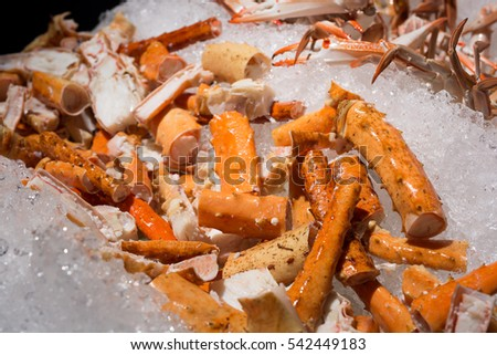 close up of all you can eat alaskan king crab legs