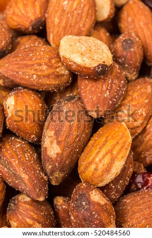 Close up of almonds as a healthy snack.