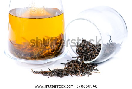 close-up of Altay Russian herbal tea Willow-herb (lat. Chamerion angustifolium), herbal tea brewed in a teapot