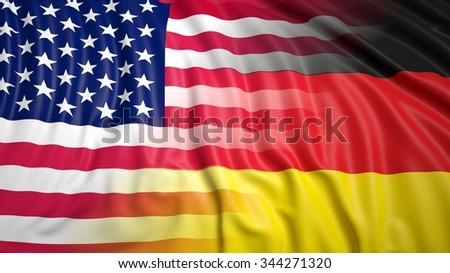 Close-up of American and German flags - stock photo