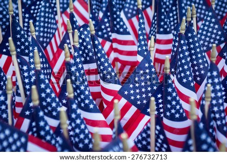 Close up of American flag located at a memorial in the capital city.
