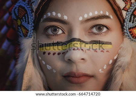close up of American Indian women hunter,Native American