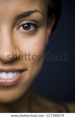 Close-up of an african american woman over black background